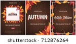 set of autumn backgrounds with... | Shutterstock .eps vector #712876264