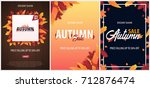 set of autumn backgrounds with... | Shutterstock .eps vector #712876474