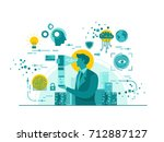 isolated biometric device... | Shutterstock .eps vector #712887127