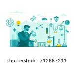 isolated biomedical science... | Shutterstock .eps vector #712887211