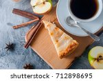 apple pie sprinkled with icing... | Shutterstock . vector #712898695