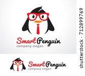 smart penguin logo template... | Shutterstock .eps vector #712899769