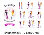 teen girls greeting ready to... | Shutterstock .eps vector #712899781