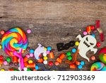 trick and treat   colorful... | Shutterstock . vector #712903369