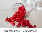 scattered berries on the table. ... | Shutterstock . vector #712909231