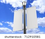 Blank white lamp post banner...