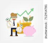 vector growth concept in flat... | Shutterstock .eps vector #712914781