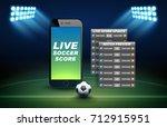 mobile phone football online... | Shutterstock .eps vector #712915951