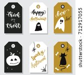 Set Of Halloween Tags. Vector...