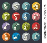 manufacture robots icon set | Shutterstock .eps vector #712929775