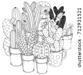 set of cactuses. black and... | Shutterstock .eps vector #712931521