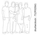 sketches  contours people family | Shutterstock .eps vector #712932061