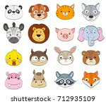 set of cartoon animal faces on... | Shutterstock .eps vector #712935109