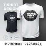 woman's lips t shirt print.... | Shutterstock .eps vector #712935835