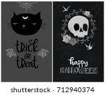 set of happy halloween card... | Shutterstock .eps vector #712940374
