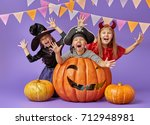 happy brother and two sisters... | Shutterstock . vector #712948981