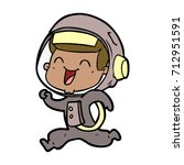 happy cartoon astronaut | Shutterstock .eps vector #712951591