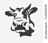 holstein smiling cow portrait... | Shutterstock .eps vector #712953445
