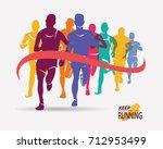 running athletes symbol  sport... | Shutterstock .eps vector #712953499