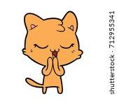 happy cartoon cat | Shutterstock .eps vector #712955341