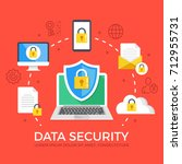data security flat illustration ... | Shutterstock .eps vector #712955731