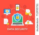 data security flat illustration ... | Shutterstock .eps vector #712955731