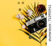 flat lay traveler accessories... | Shutterstock . vector #712955911