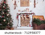 christmas and new year... | Shutterstock . vector #712958377