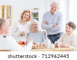 meeting of active senior club...   Shutterstock . vector #712962445