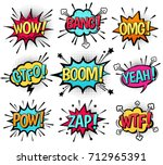 Comic speech bubble set with  text: Wow, Bang, Omg, Gtfo, Boom, Yeah, Pow, Zap, Wtf. Vector cartoon explosions with different emotions isolated on white background. | Shutterstock vector #712965391