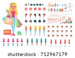 cheerful blonde woman on... | Shutterstock .eps vector #712967179