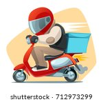 delivery man riding a scooter.... | Shutterstock .eps vector #712973299
