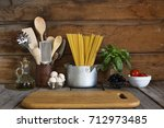 spaghetti with ingredients for... | Shutterstock . vector #712973485