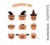 Stock vector set of hand drawn vector funny cartoon pumpkins with different faces witch hats glasses ribbon 712975771