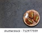 sirloin steaks on plate | Shutterstock . vector #712977559