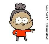 cartoon happy old woman | Shutterstock .eps vector #712977991