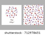 set of floral greeting card and ... | Shutterstock .eps vector #712978651