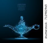 polygonal magic lamp isolated... | Shutterstock .eps vector #712982965