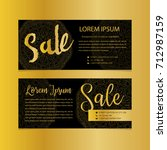 golden banners. gold text. gift ... | Shutterstock .eps vector #712987159
