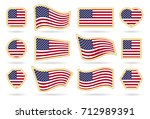 usa flag badges vector set.... | Shutterstock .eps vector #712989391