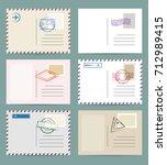vintage postcard template set.... | Shutterstock .eps vector #712989415
