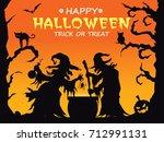 vintage halloween poster design ... | Shutterstock .eps vector #712991131