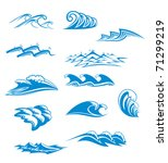 Collection Of Wave Icons In...