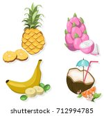 tropic fruits set collection... | Shutterstock .eps vector #712994785