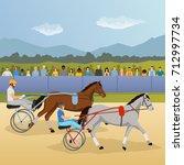 harness racing flat composition ... | Shutterstock .eps vector #712997734