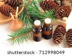 glass dropper bottles of... | Shutterstock . vector #712998049