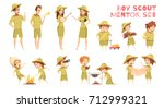 mentors guiding boy scouts... | Shutterstock .eps vector #712999321