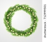 green wreath with lights and... | Shutterstock .eps vector #712999501