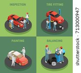 vehicles repair and maintenance ... | Shutterstock .eps vector #713000947