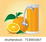 fresh orange juice with tap | Shutterstock .eps vector #713001067